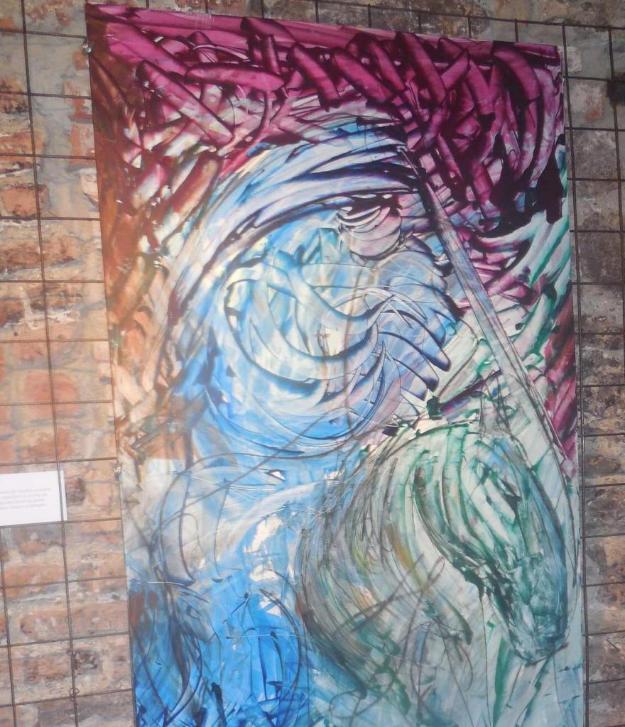 Motiv koně s apokaliptickým jezdcem vévodí čtyřem obrazům mapujícím zjevení Sv. Jana.